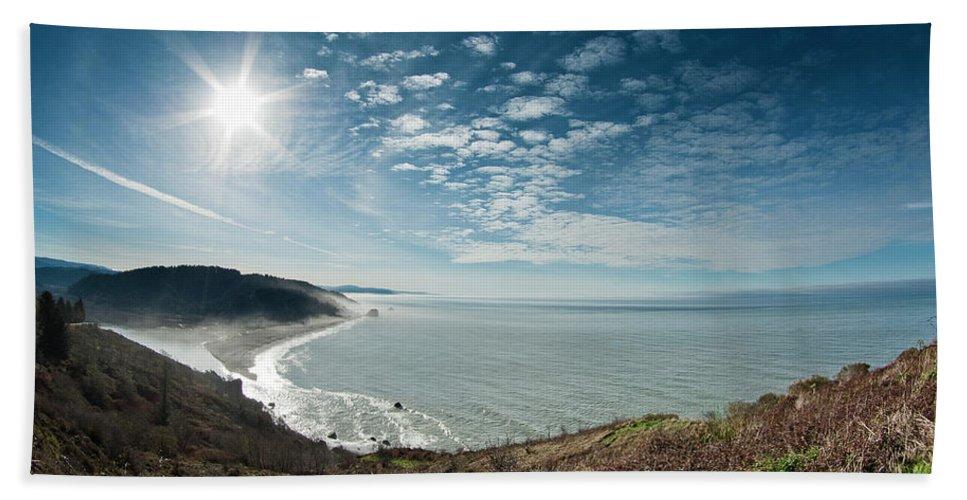 Sun Beach Towel featuring the photograph Klamath Overlook With Sun by Greg Nyquist