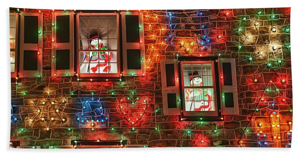 Americana Beach Towel featuring the photograph Koziar's Christmas Village by John Greim