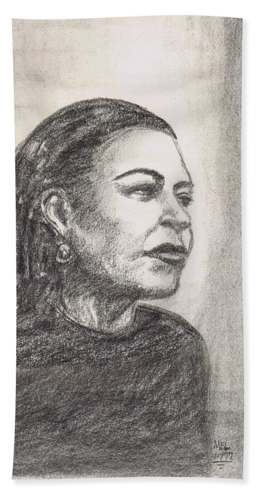 Portrait Beach Towel featuring the drawing Lady Day by Mel Thompson