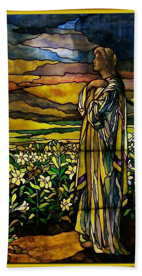 Glass Art Beach Towel featuring the photograph Lady Stained Glass Window by Thomas Woolworth