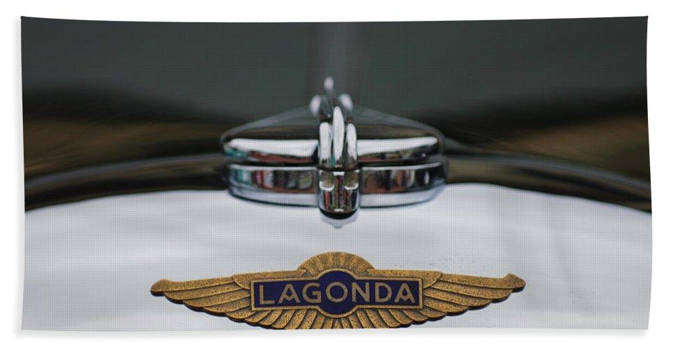 Lagonda Beach Towel featuring the photograph Lagonda Hood Emblem by Jill Reger