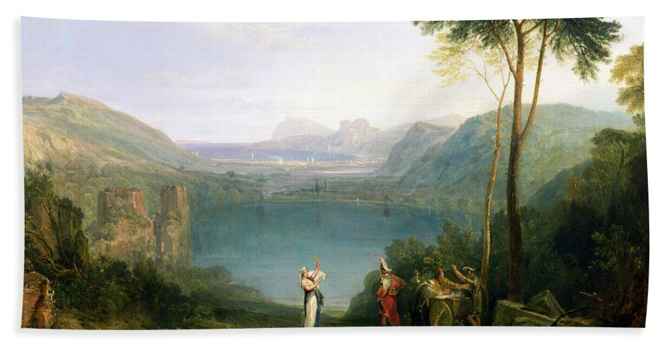 Xyc111959 Beach Towel featuring the photograph Lake Avernus - Aeneas And The Cumaean Sibyl by Joseph Mallord William Turner