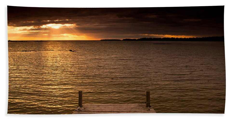Dock Beach Towel featuring the photograph Lake Huron Dock by Cale Best