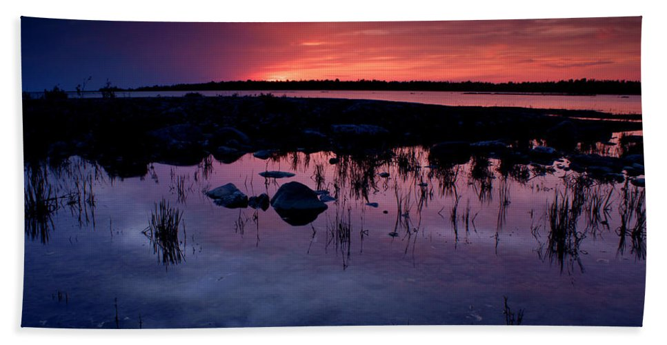 Sunset Beach Towel featuring the photograph Lake Huron Sunset by Cale Best