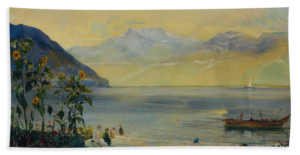 Lake Leman With The Dents Du Midi In The Distance Beach Towel featuring the painting Lake Leman With The Dents Du Midi In The Distance by John William Inchbold