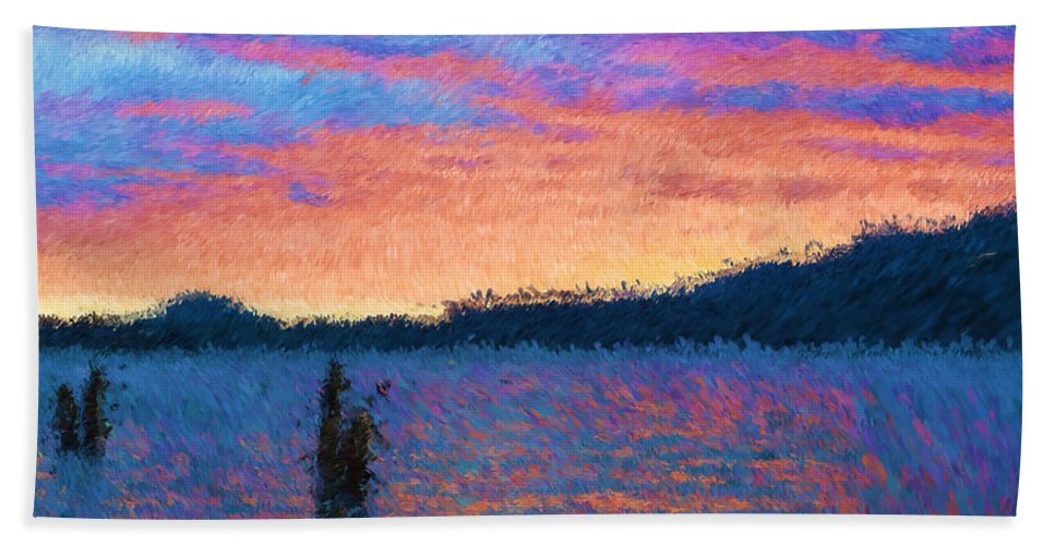 Lake Beach Towel featuring the photograph Lake Quinault Sunset - Impressionism by Heidi Smith