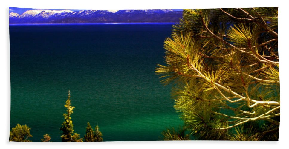 Lake Tahoe Beach Towel featuring the photograph Lake Tahoe Vista by Ellen Heaverlo