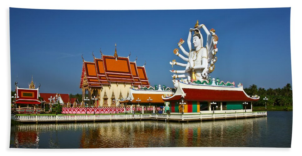 Buddha Beach Towel featuring the photograph Lake Temple by Adrian Evans