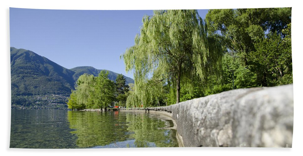 Lake Beach Towel featuring the photograph Lakefront With Trees by Mats Silvan