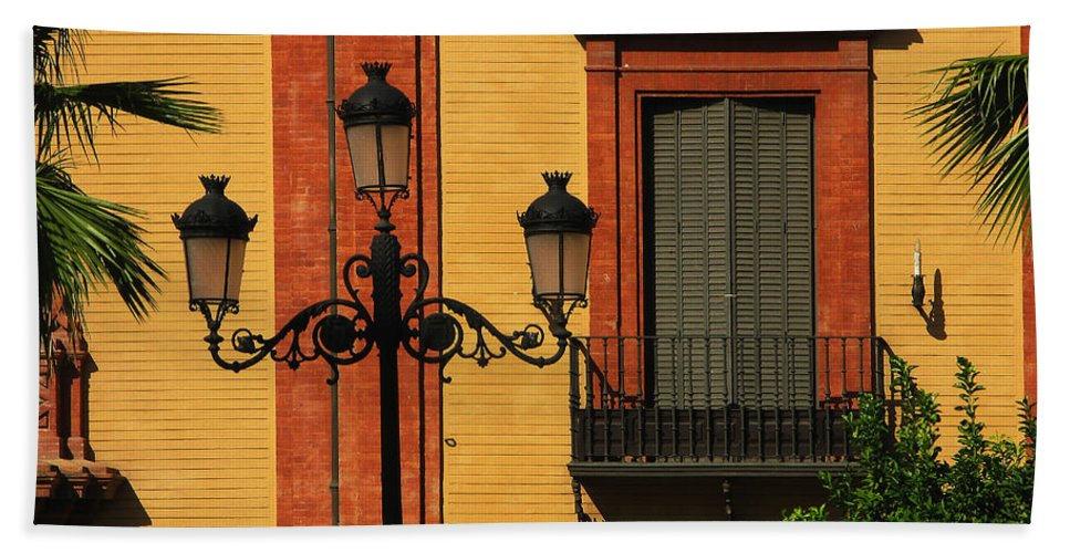 Sevilla Beach Towel featuring the photograph Lamp And Window In Sevilla Spain by Greg Matchick