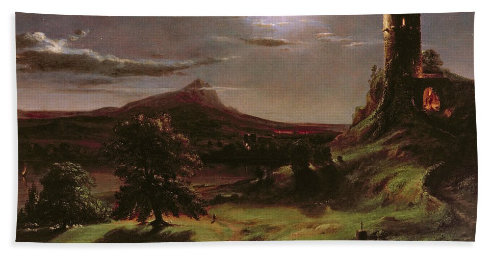 Ruin; Ruins; Round Tower; Night; Evening; Dark; Valley; Sheep; River; Medieval; Wooing; Lovers; Serenading; Serenade; Hudson River School; Romantic; Rustic; Nocturne; River; Moon; Burial Site; Memorial; Cross; Beach Towel featuring the painting Landscape - Moonlight by Thomas Cole