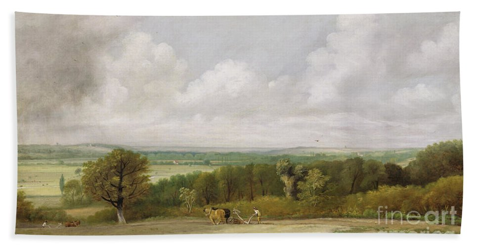 Xyc111950 Beach Towel featuring the photograph Landscape - Ploughing Scene In Suffolk by John Constable