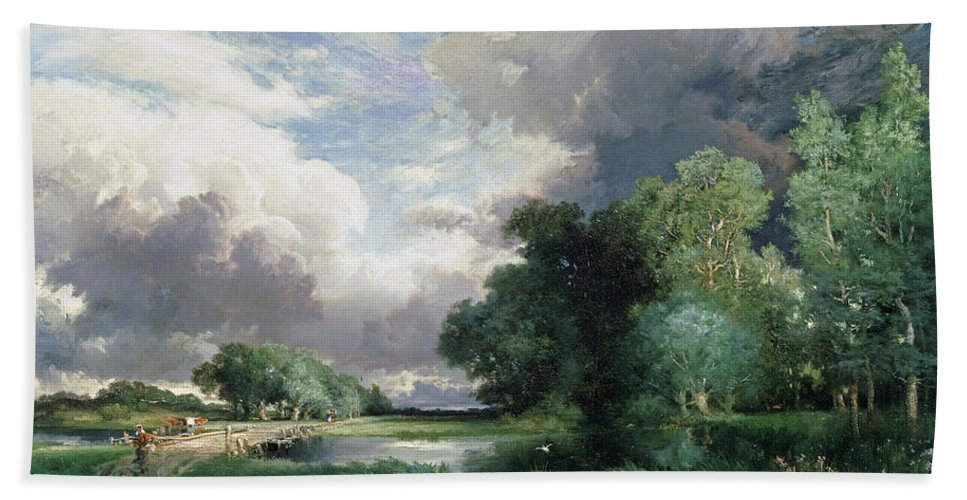 Rural; Remote; River; Riverbank; Dusk; Evening; Track; Road; Path; Journey; Traveller; Walking; Cattle; Homeward Bound; Countryside;landscape With A Bridge (oil On Canvas) By Thomas Moran (1837-1926) Wood Beach Towel featuring the painting Landscape With A Bridge by Thomas Moran