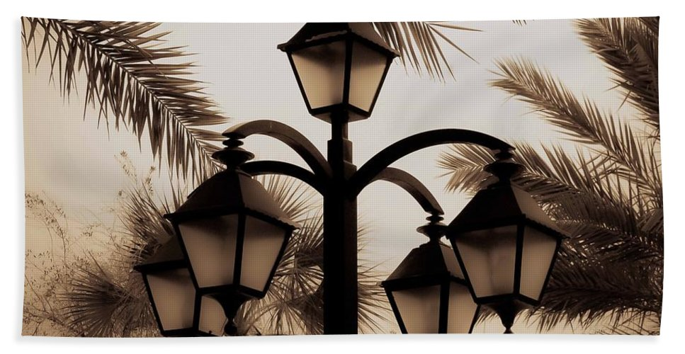 Lamp Post Beach Towel featuring the photograph Lanterns And Fronds by DigiArt Diaries by Vicky B Fuller