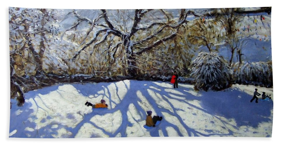 Sledge Beach Towel featuring the painting Large Tree And Tobogganers by Andrew Macara