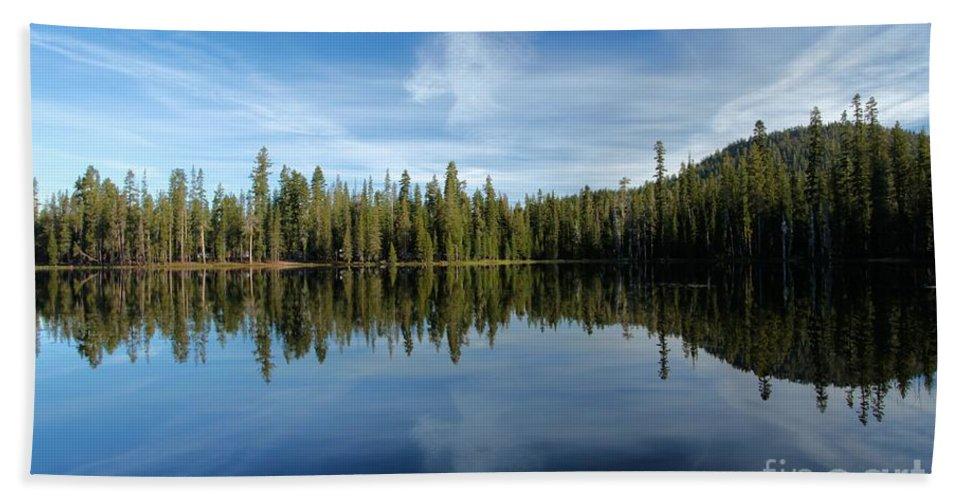 Summit Lake Beach Towel featuring the photograph Lassen Summit Lake Reflections by Adam Jewell