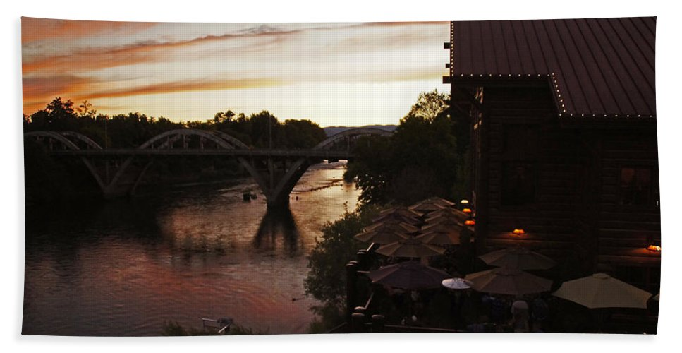 Last Light Beach Towel featuring the photograph Last Light Over The Rogue by Mick Anderson