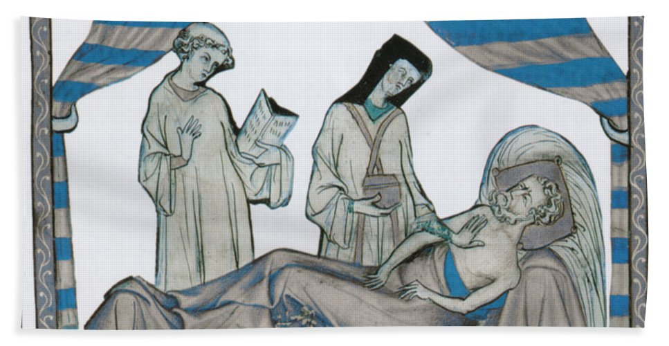 Middle Ages Beach Towel featuring the photograph Last Rites, Middle Ages by Science Source