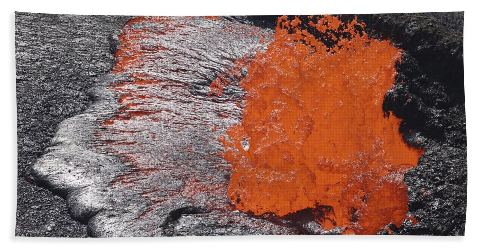 Danger Beach Towel featuring the photograph Lava Bursting At Edge Of Active Lava by Richard Roscoe