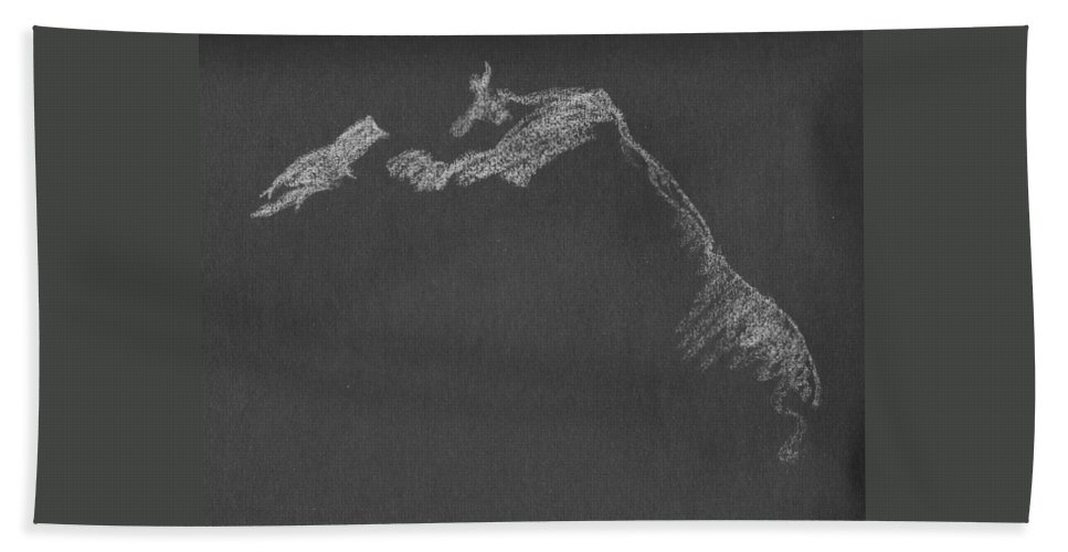 Kroki Beach Towel featuring the drawing Leaning by Marica Ohlsson