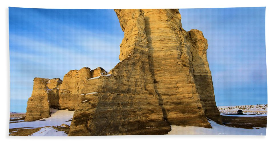 Monument Rocks Beach Towel featuring the photograph Learn Tower Of Monument Rocks by Adam Jewell