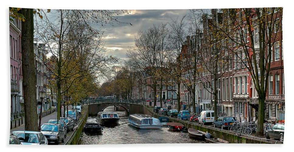 Holland Amsterdam Beach Towel featuring the photograph Leidsegracht. Amsterdam by Juan Carlos Ferro Duque