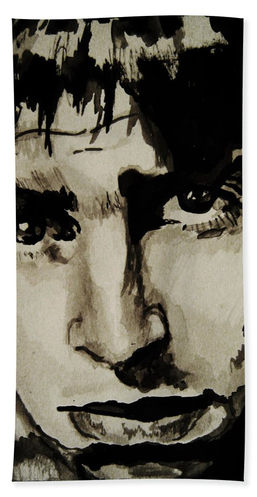 Liam Gallagher Beach Towel featuring the drawing Liam by Molly Picklesimer