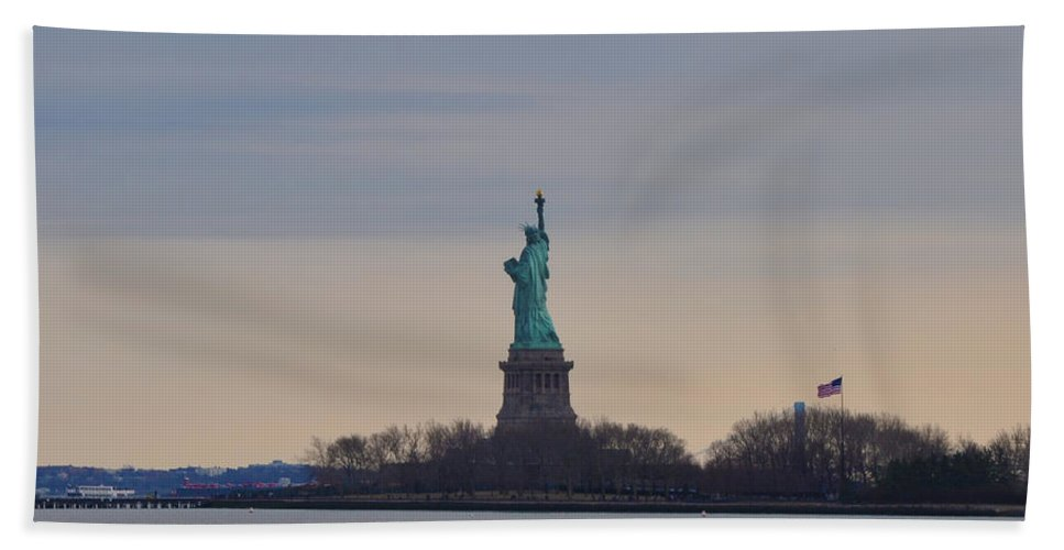 Statue Of Liberty Beach Towel featuring the photograph Liberty by Bill Cannon