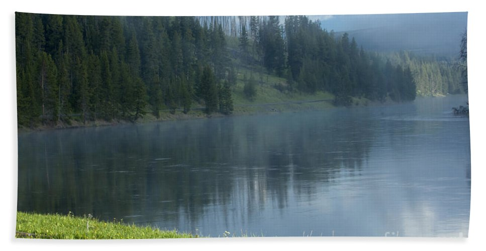Bronstein Beach Towel featuring the photograph Lifting Fog On The Yellowstone by Sandra Bronstein