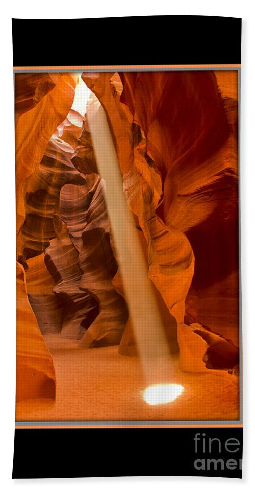 Antelope Canyon Beach Towel featuring the photograph Light Beam With Border by Larry White