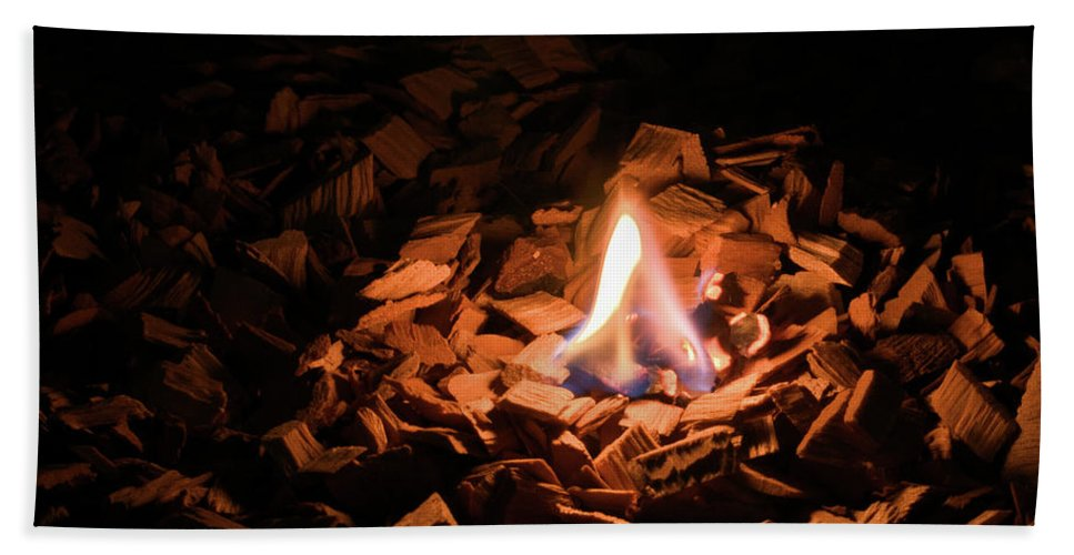 Background Beach Towel featuring the photograph Light Of Fire Creates Coziness ... by Michael Goyberg