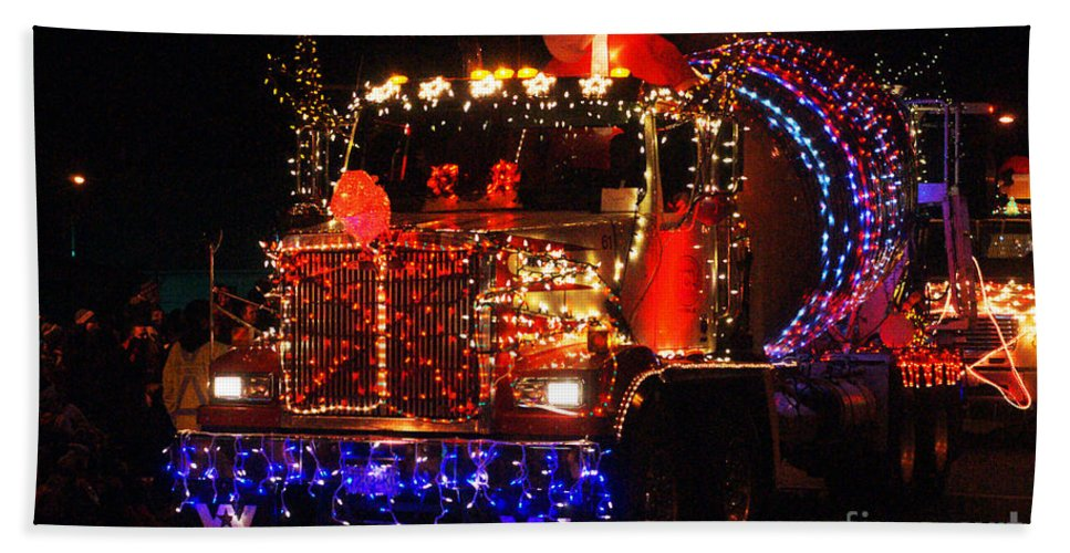 Christmas Lights Beach Towel featuring the photograph Lighted Cement Truck by Randy Harris