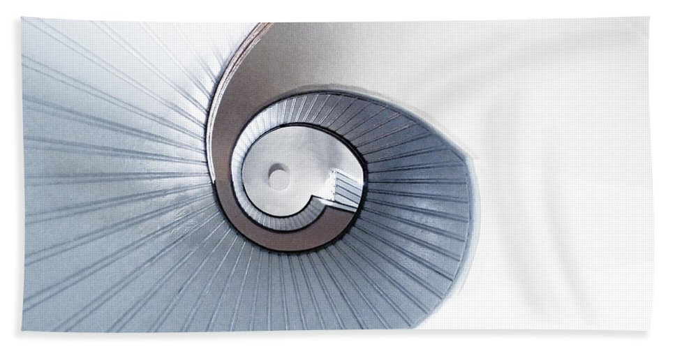 Lighthouse Spiral Staircase Beach Towel featuring the photograph Lighthouse Spiral Staircase by Methune Hively