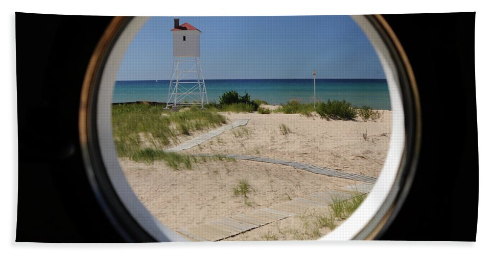 Window Beach Towel featuring the photograph Lighthouse Window To Lake by Ronald Grogan