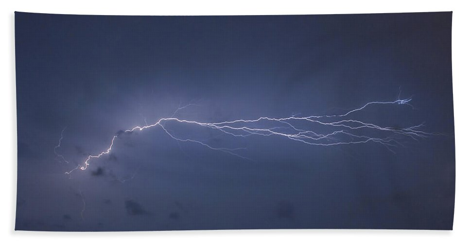 Lightning Beach Towel featuring the photograph Lightning Over The Pier by Stephen Whalen
