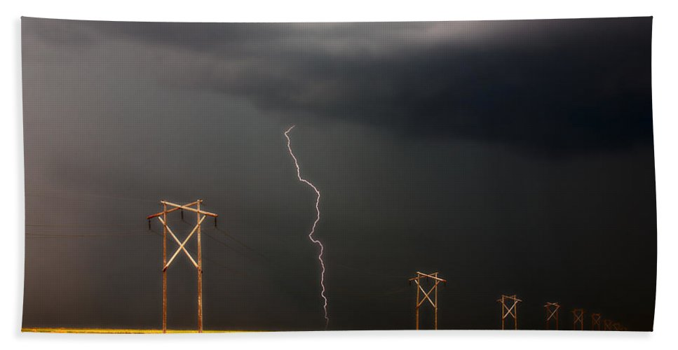 Country Beach Towel featuring the digital art Lightning Striking Behind Saskatchewan Power Line by Mark Duffy