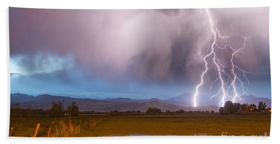 Lightning Beach Towel featuring the photograph Lightning Striking Longs Peak Foothills 6 by James BO Insogna