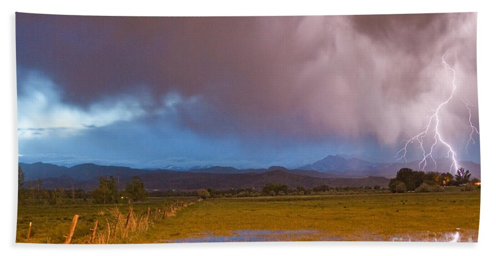 Awesome Beach Towel featuring the photograph Lightning Striking Longs Peak Foothills 7 by James BO Insogna