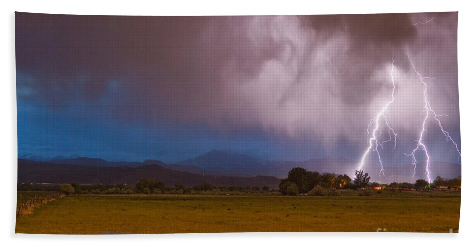 Lightning Beach Towel featuring the photograph Lightning Striking Longs Peak Foothills 8 by James BO Insogna