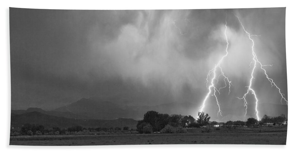 Awesome Beach Towel featuring the photograph Lightning Striking Longs Peak Foothills 8cbw by James BO Insogna