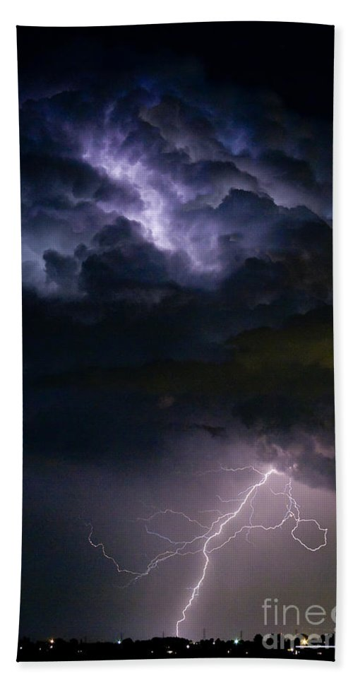 Lightning Beach Towel featuring the photograph Lightning Thunderhead Storm Rumble by James BO Insogna