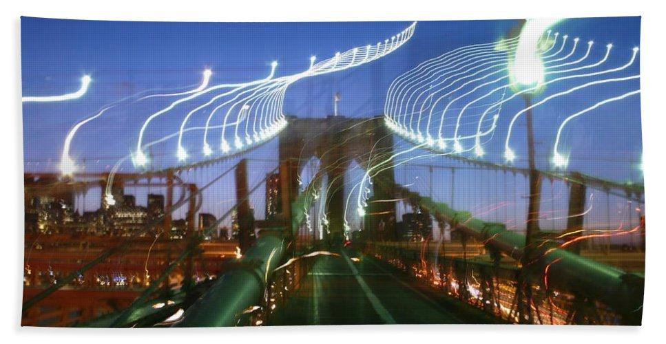 Beach Towel featuring the photograph Lightwriting Brooklyn Bridge by Anna Ruzsan