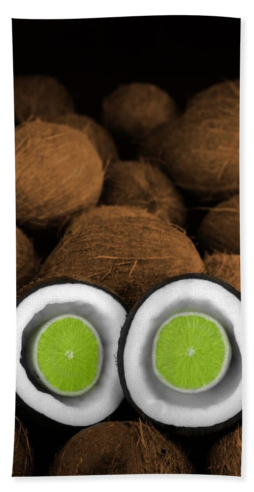 Lime Beach Towel featuring the photograph Lime In The Coconut by Mark Greenberg