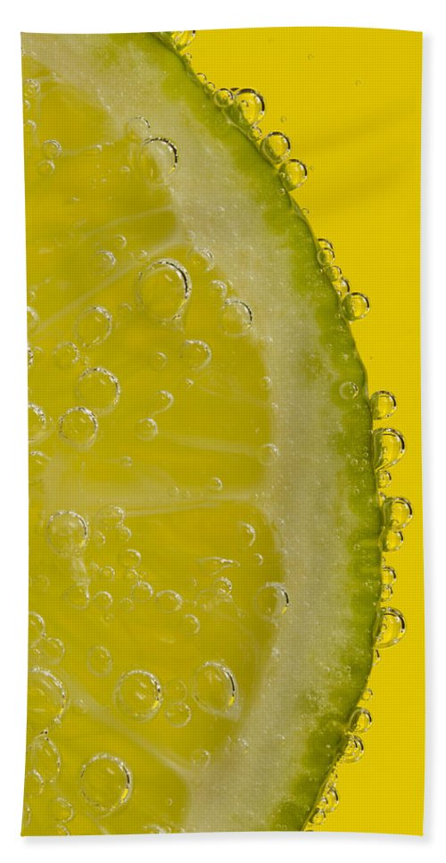 Lime Beach Towel featuring the photograph Lime Slice Soda 2 by John Brueske