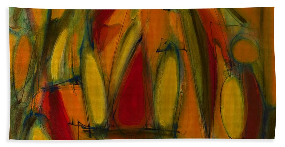 Non-objective Beach Towel featuring the painting Limits Rising by Lynne Taetzsch