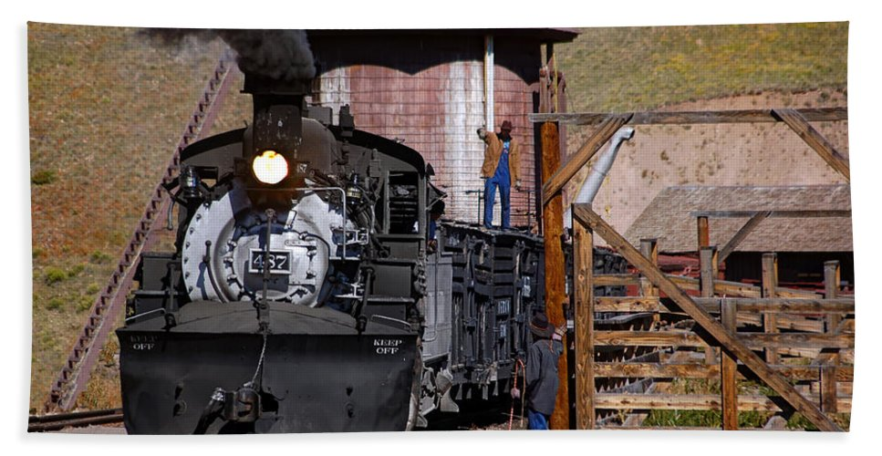 Steam Train Photographs Beach Towel featuring the photograph Line Em Up by Ken Smith