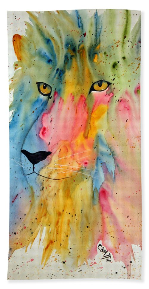 Lion Beach Towel featuring the painting Lion Head 3 by Connie Beattie