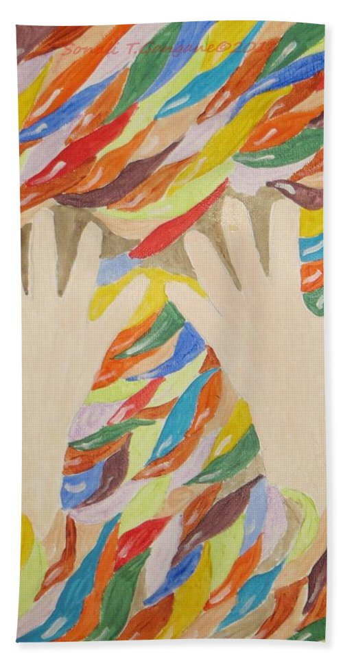 Little Cute Hands Beach Towel featuring the painting Little Creative Hands by Sonali Gangane