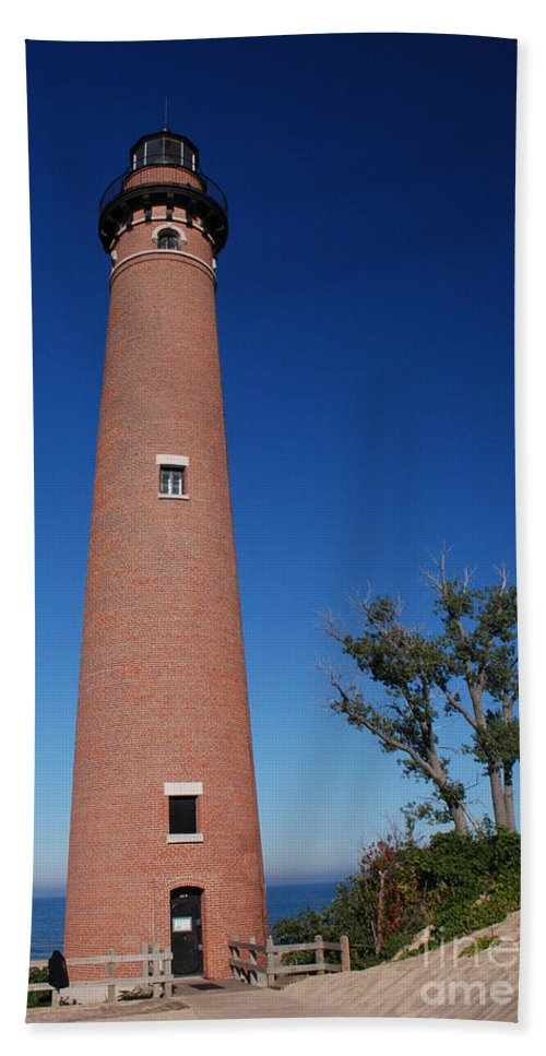 Lighthouse Beach Towel featuring the photograph Little Sable Point Lighthouse by Grace Grogan