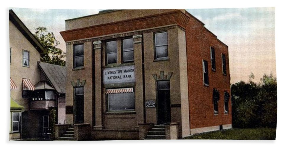 Ny Beach Towel featuring the photograph Livingston Manor Ny - National Bank by Ericamaxine Price